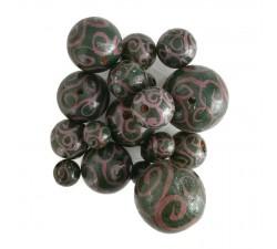Spirales Perles en bois - Spirales - Aubergine et vert Babachic by Moodywood