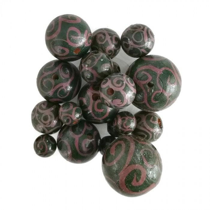 Perles en bois - Spirales - Aubergine et vert