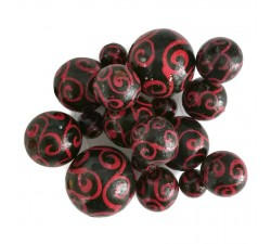 Twirls Wooden beads - Twirls - Black and red Babachic by Moodywood