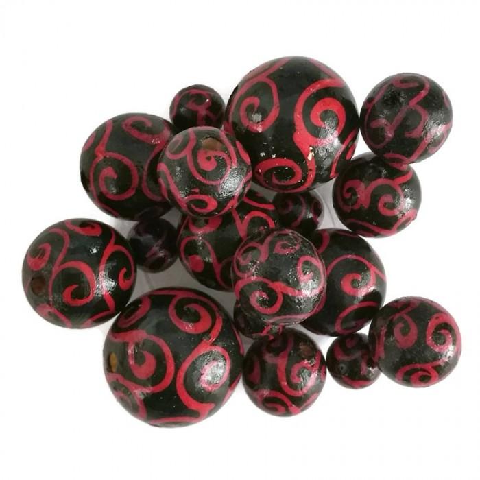 Perles en bois - Spirales - Rouge et noir