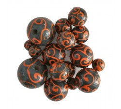 Twirls Wooden beads - Twirls - Grey and orange Babachic by Moodywood