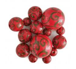Spirales Perles en bois - Spirales - Rouge Babachic by Moodywood
