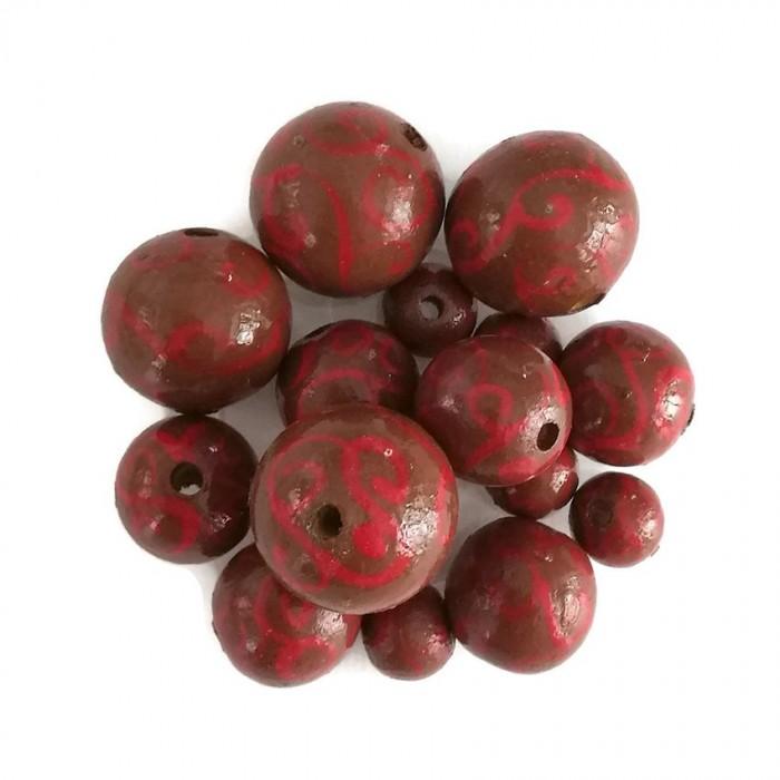 Perles en bois - Spirales - Marron