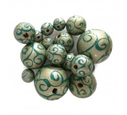 Twirls Wooden beads - Twirls - Silver Babachic by Moodywood