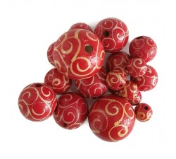 Twirls Wooden beads - Twirls - White and red Babachic by Moodywood