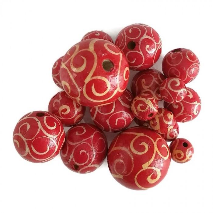 Cuentas de madera - Espirales - Rojo y blanco