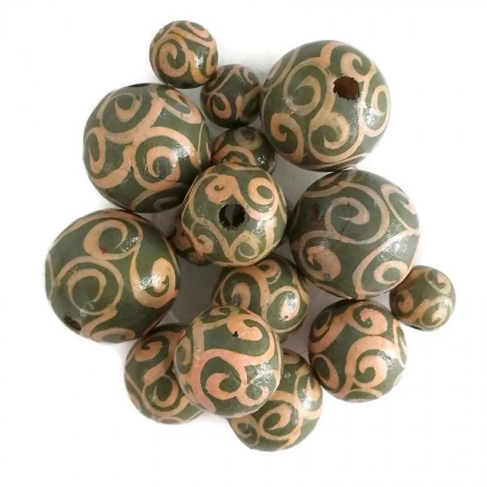Wooden beads - Twirls - Kaki and salmon