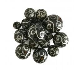 Spirales Perles en bois - Spirales - Noir et argenté Babachic by Moodywood