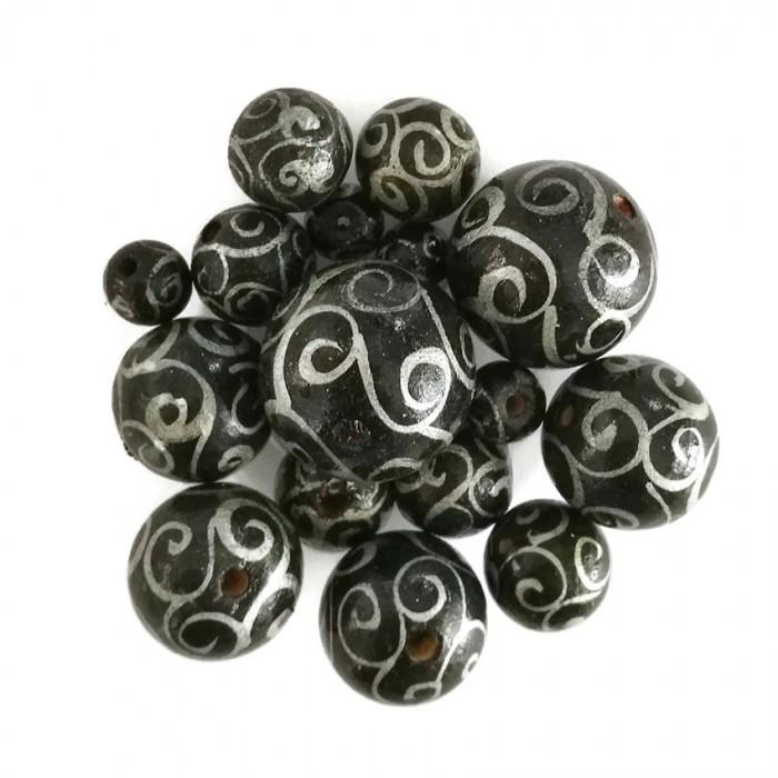 Cuentas de madera - Espirales - Negro y plateado