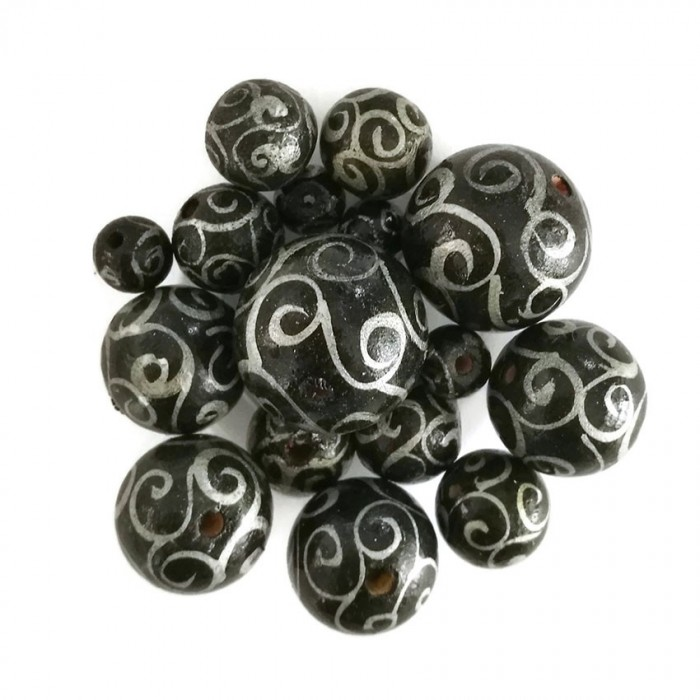 Wooden beads - Twirls - Black and silver
