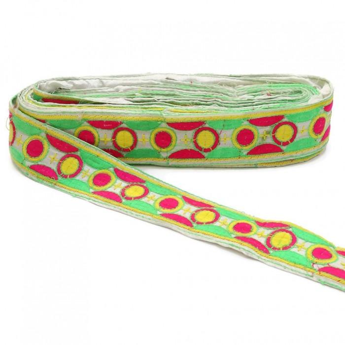 Bordado gráfico - Cosmos - Rosa, verde y amarillo - 40 mm