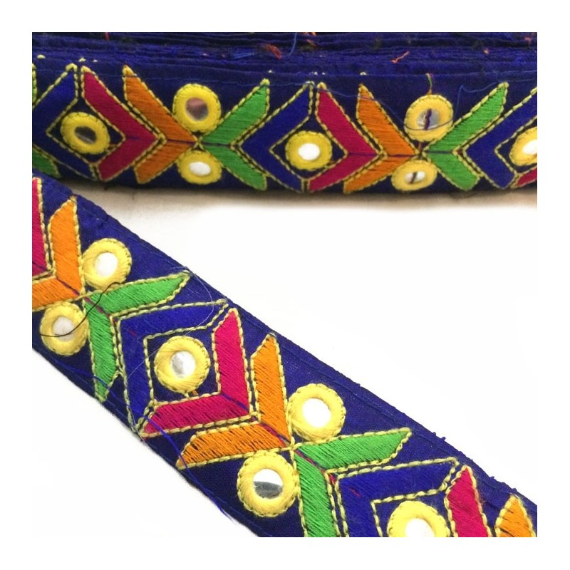 Embroidered ethnic braid - Navy blue - Orange, blue, green and pink graphic - Mirrors - 40 mm