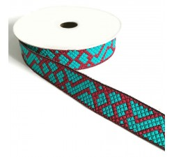 Ribbons Ribbon Tetris - Turquoise and carmine red - 25 mm