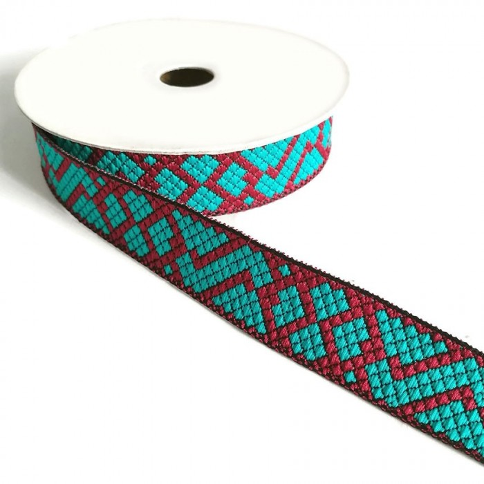 Ribbon Tetris - Turquoise and carmine red - 25 mm