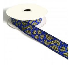 Ribbons Graphic ribbon - Tetris - Blue and khaki - 25 mm babachic
