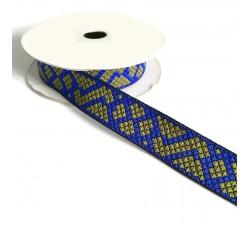 Rubans Ruban graphique - Tétris - Bleu et kaki - 25 mm babachic