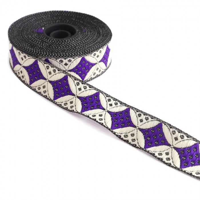 Woven ribbon - Galactica - Purple and white - 30 mm