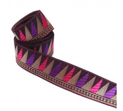 Woven ribbon - Backgammon - Purple, pink, brown and gold - 35 mm