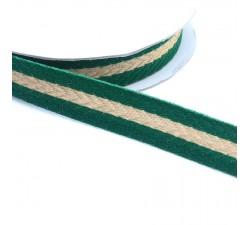 Cintas Galón tejido - Rayas - Verde pino y dorado - 18 mm babachic