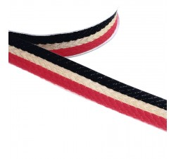 Ribbons Woven braid - Stripes - Red, black and golden - 18 mm babachic