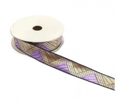 Ribbons Graphic braid - Delta - Light purple and golden - 20 mm babachic