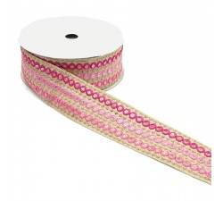 Embroidery Graphic embroidery - Chain - Pink - 45 mm babachic