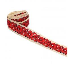 Broderie de fleurs - Myosotis - Rouge - 40 mm