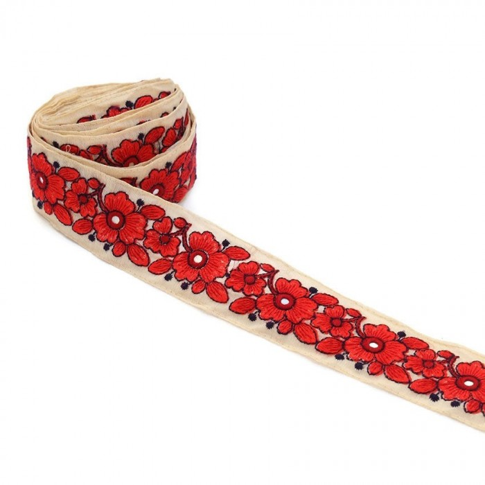 Bordado de flores - Myosotis - Rojo - 40 mm