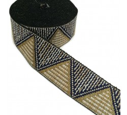Ribbons Woven braid - Triangles - White and golden - 50 mm babachic