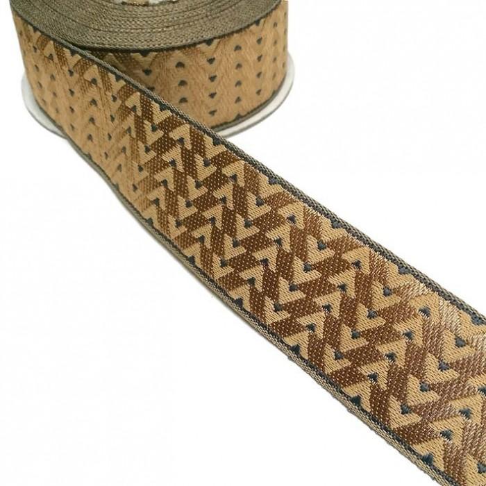 Ruban tissé - Art Déco - Gris et doré - 35 mm