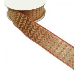 Ribbons Woven ribbon - Art Deco - Orange and golden - 35 mm