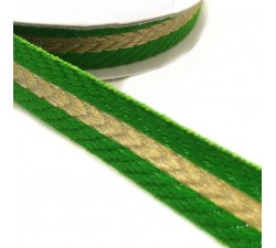Ribbons Woven braid - Stripes - Green and golden - 18 mm babachic