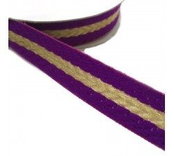 Ribbons Woven braid - Stripes - Purple and golden - 18 mm babachic
