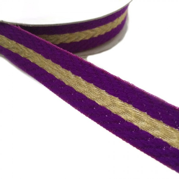 Woven braid - Stripes - Purple and golden - 18 mm