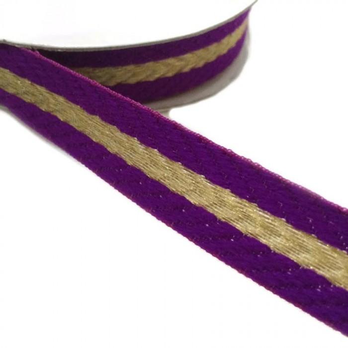 Galon tissé - Rayures - Violet et doré - 18 mm