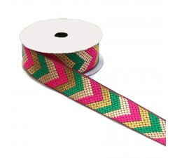 Ethnic satined ribbon - Green, pink and golden arrows - 35 mm
