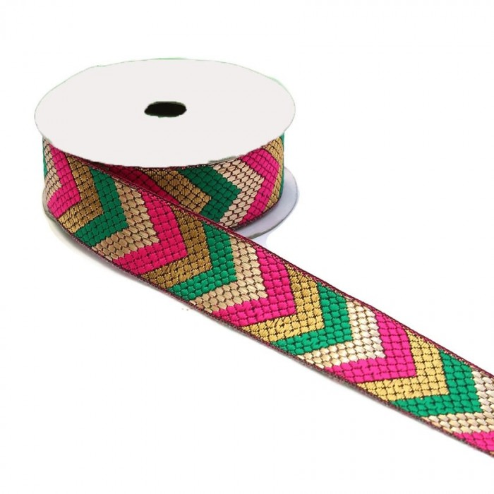 Ribbons Ethnic satined ribbon - Green, pink and golden arrows - 35 mm