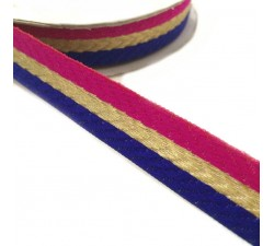 Ribbons Woven braid - Stripes - Fuchsia, blue and golden - 18 mm babachic