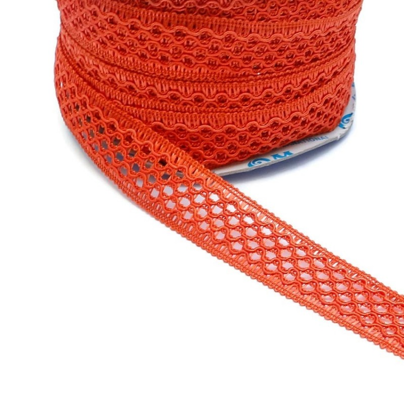 Lace ribbon - Orange - 20 mm