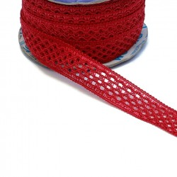 Lace Lace ribbon - Red - 20 mm babachic