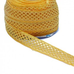 Lace Lace ribbon - Yellow - 20 mm babachic