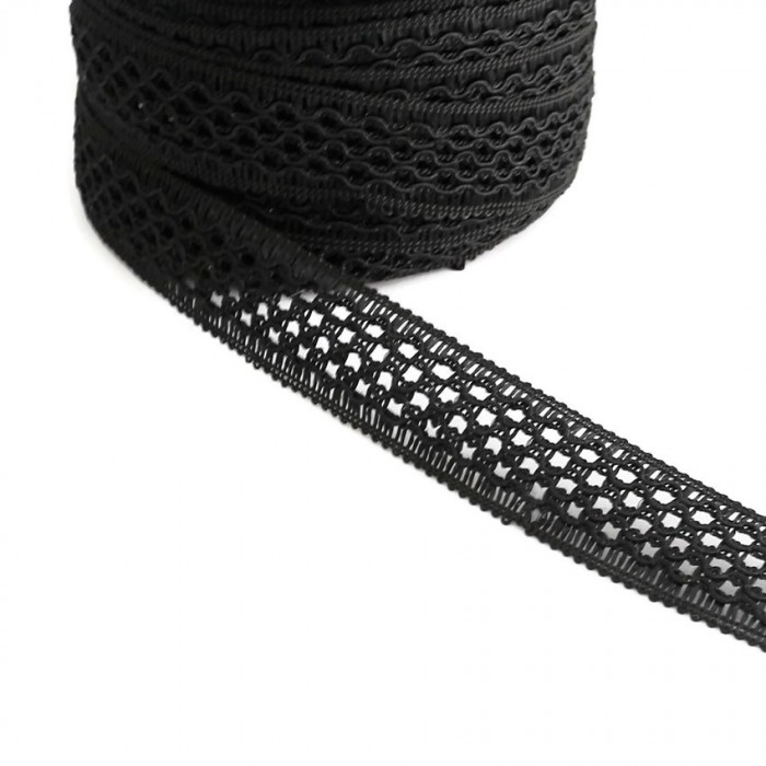 Ruban dentelle - Noir - 20 mm