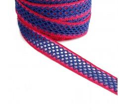 Ruban dentelle - Bleu et fuchsia - 20 mm