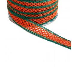 Dentelles Ruban dentelle - Orange et vert - 20 mm