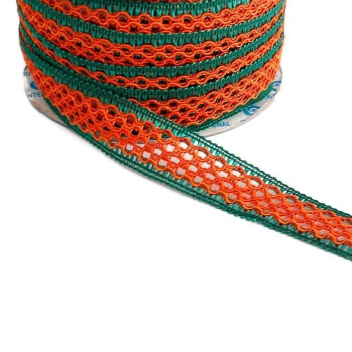 Cinta encaje - Naranja y verde - 20 mm
