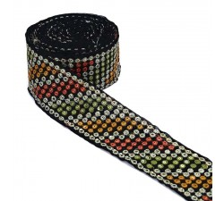 Embroidery Black velvet ribbon - Khaki, yellow, orange - 55 mm babachic