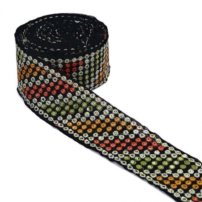 Black velvet ribbon - Khaki, yellow, orange - 55 mm