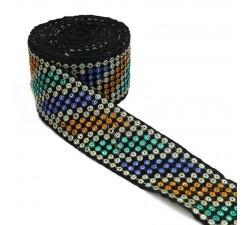 Broderies Ruban velours - Sequins et fils - Bleu, jaune, turquoise, argenté et noir - 55 mm