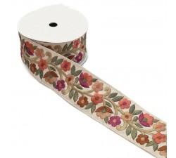 Retro embroidery - Flower farandole - Salmon, burgundy, brow and beige - 60 mm