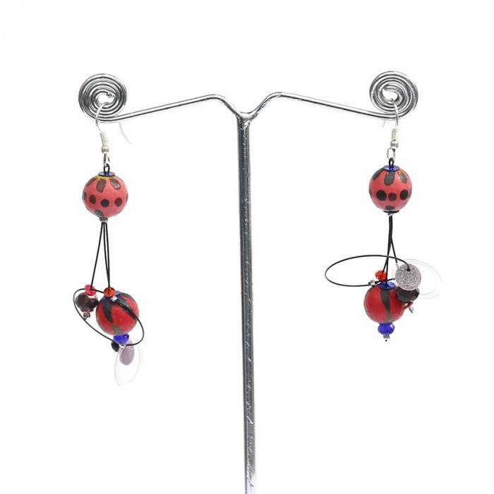 Earrings 6 cm - Cherry